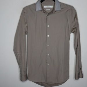 Topman Men's Beige Cotton Slim Fit Button Up Shirt
